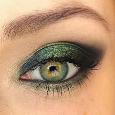 Black and Green eye shadow. Or this. Too much green though?