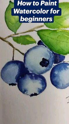 Watercolor Beginner, Watercolor Paintings For Beginners, Watercolor Art Lessons, Watercolor Projects, Watercolor Techniques, Watercolor Flowers Tutorial, Cool Paintings, Watercolors, Sketching
