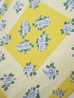 Mid Century Tablecloth  Yellow LATTICE Blue ROSES by WhyteWing