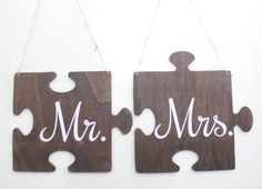Wedding Chair Sign/Mr. and Mrs. Hanging by ThePartyGirlStudio