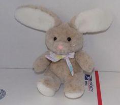8-034-1991-DAKIN-TAN-BROWN-White-COTTONTAIL-Plush-BUNNY-Rabbit-w-Flower-Bow-16