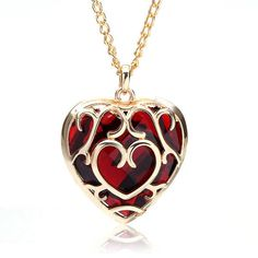 Gold Plated Heart Shaped Big Red Crystal Pendant Necklace