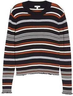 Ribbed Lettuce Edge Stripe Sweater (Regular & Plus Size) Plus Size Fall Fashion, Autumn Fashion, Plus Size Sweaters, Nordstrom, Stripes, Knitting, Sweatshirts, Cotton, Collection