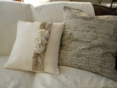 handmake pillows | The pillow on the left is the gift, the French script pillow on the #handmakepillows #pillows ...