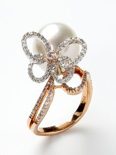 PEARL BUTTERFLY RING by Assael at Gilt