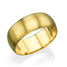 Yellow Gold Men's Wedding Ring - 7.7mm Rounded Brushed Matte Band