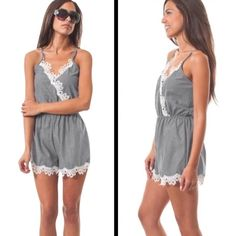 ‼️NOW AVAILABLE ‼️ ADORABLE CROCHET DETAIL ROMPER Cute Heather gray shorts romper made of a chambray material with beautiful crochet detail. Made in the USA Boutique Shorts