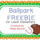 This is a FREE Literacy Packet - geared toward Kindergarten and Lower Elementary.   It includes:  Write the Room: Word Hunt (baseball theme) with rec...