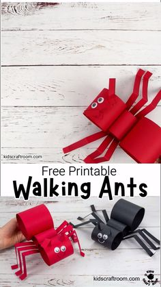 This Walking Ant Craft is so fun and easy to make with a free printable ant craft template. Make your paper ant puppets move with a twist of your wrist! Animal Crafts For Kids, Summer Crafts For Kids, Paper Crafts For Kids, Craft Activities For Kids, Toddler Crafts, Diy For Kids, Craft Kids, Summer Art, Craft With Paper