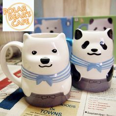 """These+adorable+mugs+feature+characters+from+the+hit+anime+""""Shirokuma+Cafe"""".+  Dimensions:+11cm*7cm Capacity:+350mL  Free+shipping+worldwide."""