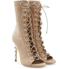 Balmain Lace Up Suede Boots (26,030 MXN) ❤ liked on Polyvore featuring shoes, boots, ankle booties, heels, balmain, beige, beige booties, beige suede booties, heeled booties and balmain boots