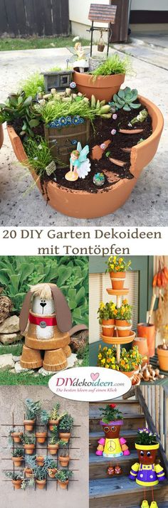 20 DIY Garten Dekoideen mit Tontöpfen