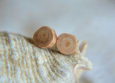 Wooden earrings mens wood stud earrings natural by MyPieceOfWood