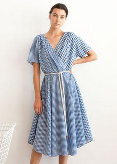 Blue Contrast Gingham Belted Dress – The Frankie Shop