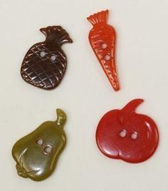 Bakelite Carved Vegetable Figural Multicolor Buttons