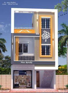 House Balcony Design, House Front Wall Design, Flat House Design, 3 Storey House Design, Narrow House Designs, House Outside Design, Village House Design, House Gate Design, Bungalow House Design