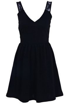 Lace Shoulder V-neckline Black Dress  #ROMWE