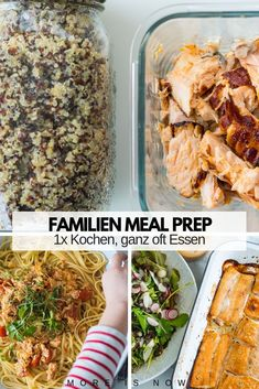 Family Meal Prep par excellence - COOK with little effort, EAT very often ! - More is now - Recipes & suggestions for a family weekly menu with very little COOKING and a lot of EATING with ch - Vegetarian Meal Prep, Vegan Meal Plans, Healthy Meal Prep, Vegetarian Recipes, Healthy Recipes, Clean Eating Recipes, Lunch Recipes, Baby Food Recipes, Dinner Recipes