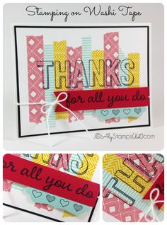 """Stamping on Washi Tape! Using Washi Tape to color in your bubble letters from the Sale-A-Bration 2015 Stamp Set """"For Being You."""" Using Stampin' Up! Beach House Washi Tape."""