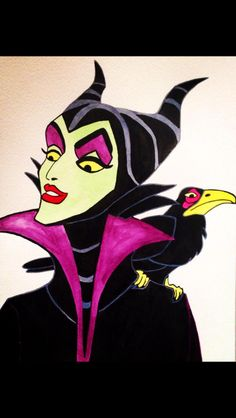 Watercolour painting of Disney' maleficent