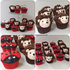 Hedgehog and ladybug ladybird cupcakes Fancy Birthday Cakes, Animal Birthday Cakes, Hedgehog Cupcake, Chocolate Toppers, Jake Cake, Cupcakes For Boys, Cake Decorating Classes, Cake & Co, Forest Party