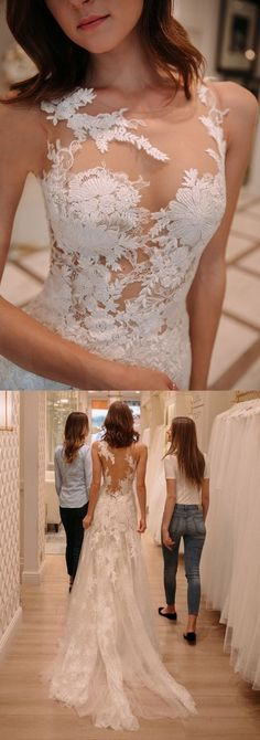 tight lace wedding dresses with court train, fashion wedding gowns.