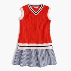 A soft cotton top (a nod to the classic tennis sweater) plus a flouncy shirting-striped skirt makes for the cutest spring dress this side of the clay court. <ul><li>A-line silhouette.</li><li>Falls above knee.</li><li>Cotton.</li><li>Machine wash.</li><li>Import.</li></ul>