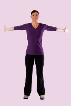 For a great pec and bicep stretch follow this arm lengthening move.  Reach your arms out and gently pull them back until you feel the tightness in your chest, shoulders and arms.