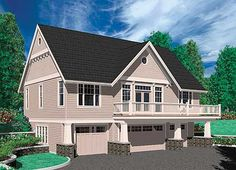 One Bedroom Suite Over Four Car Garage - thumb - 02 Family House Plans, Small House Plans, House Floor Plans, Garage Apartment Plans, Garage Apartments, Apartment Ideas, Garage Plans With Loft, Garage Ideas, Garage House