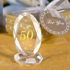 """Choice Crystal Collection """"50"""" Plaques at WeddingFavors.org"""