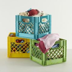 Kids Storage: Colorful Milk Crates for Kids in Under $10  with christmas coming and the grandmothers going overboard with stuff i need to find good affordable storage solutions for my son's room.Plus they're stackable so he would still have room for his bed he never sleeps in