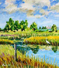 Coastal Marsh With Egret