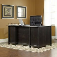 Executive Computer Desk - Estate Black Finish by TDM. $339.98. Features Large drawer/shelf with metal runners and safety stops features flip-down panel for keyboard/mouse. Two file drawers with full extension slides hold letter-size hanging files. Two small drawers with metal runners and safety stops. Desk top has grommet hole for electrical cord access. Quick and easy assembly with patented T-lock drawer system. Estate Black finish. Dimensions W:65 1/8 (165.4...