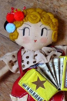Vaudeville Player, One-of-a-kind handmade art doll