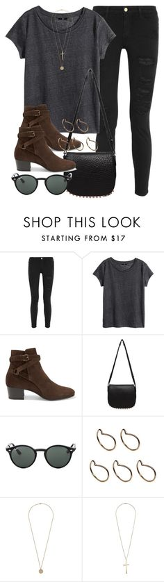 """""""Style #10180"""" by vany-alvarado ❤ liked on Polyvore featuring Frame Denim, H&M, Yves Saint Laurent, Alexander Wang, Ray-Ban, Pieces, Dorothy Perkins and Topshop"""