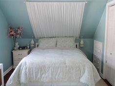 JacklynL29: Shabby Chic Attic Bedroom  Built in drawers. Mock Canopy headboard. Small lanterns adorn ...