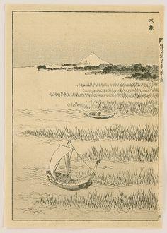 Hokusai One Hundred Views of Mt. Fuji - Omori 1834.
