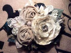 large cream corsage wedding brooch dress PIN vintage lace 14 cm bride bridesmaid