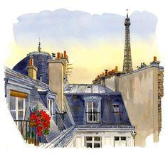 Fabrice Moireau - Paris - watercolor painting.