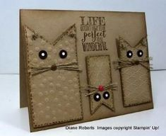 handmade card from Score at Four and a Quarter: Life is Wonderful ... kraft ... luv the fishtail banner cats ... faux stitching ... eyes stand out in black with white dots ... linen thread whisters .... embossing folder texture ... excellent card!!! ... Stampin' Up! by Kimara