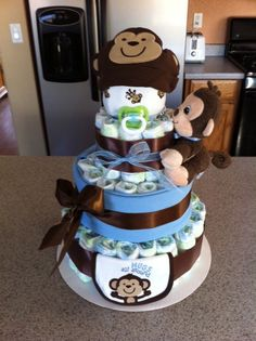 4Tier #MonkeyDiaperCake Blue and Brown by DiaperCakesByKristin, $60.00