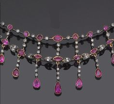 A late century ruby and diamond necklace Designed as a graduating fringe of circular marquise and pear-shaped rubies interspersed with rose-cut diamonds to a trace-link back-chain mounted in silver and gold one ruby simulant length Antique Necklace, Antique Jewelry, Vintage Jewelry, Latest Jewellery Trends, Jewelry Trends, Jewelry Ideas, Ruby And Diamond Necklace, Ruby Necklace, Pink Pendants