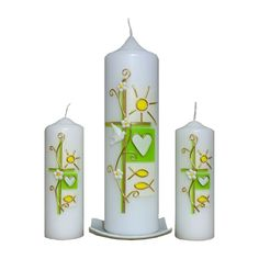 Hübsch und freundlich! Cute Candles, Beautiful Candles, Pillar Candles, Première Communion, First Communion, Baptism Candle, Candle Art, Personalized Candles, Christening