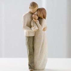 The Willow Tree® Our Gift Figurine is an exceptional keepsake gift to celebrate the new family with the arrival of their much anticipated newborn baby. A beautiful wooden figurine, crafted in the Willow Tree® style we have come to know and love, depicts a young couple holding their first child in a loving embrace.
