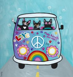 Rainbow Hippies VW Peace Bus Original Cat Folk by KilkennycatArt
