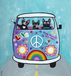 Rainbow Hippies VW Peace Bus Original Cat Folk by KilkennycatArt