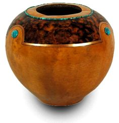 Gourd Art by Gloria Crane fine art inlaid turquoise heishi bead gold leaf bowl