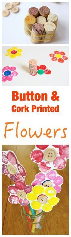 Fun Kids Craft - Button and Cork Printed Flowers. So easy to set up and make. Fun Kids Craft - Button and Cork Printed Flowers. So easy to set up and make. Diy With Kids, Fun Crafts For Kids, Easy Diy Crafts, Toddler Crafts, Creative Crafts, Preschool Crafts, Projects For Kids, Activities For Kids, Art Projects