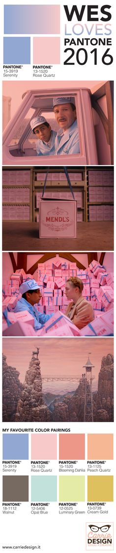 Wes loves Pantone colors for 2016! I found it in #Grandbudapesthotel mixed perfectly! Here's my favourite color pairings with Rose quartz and Serenity. #pantone #pantone2016 #rosequartz #serenity #wesanderson #wes #colorpalette #colorpairings #pastels #carriedesign