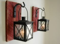 Lantern Pair (2) Wall Decor with wrought iron hooks on recycled wood board for unique home decor, bedroom decor by PineknobsAndCrickets on Etsy https://www.etsy.com/listing/165400899/lantern-pair-2-wall-decor-with-wrought